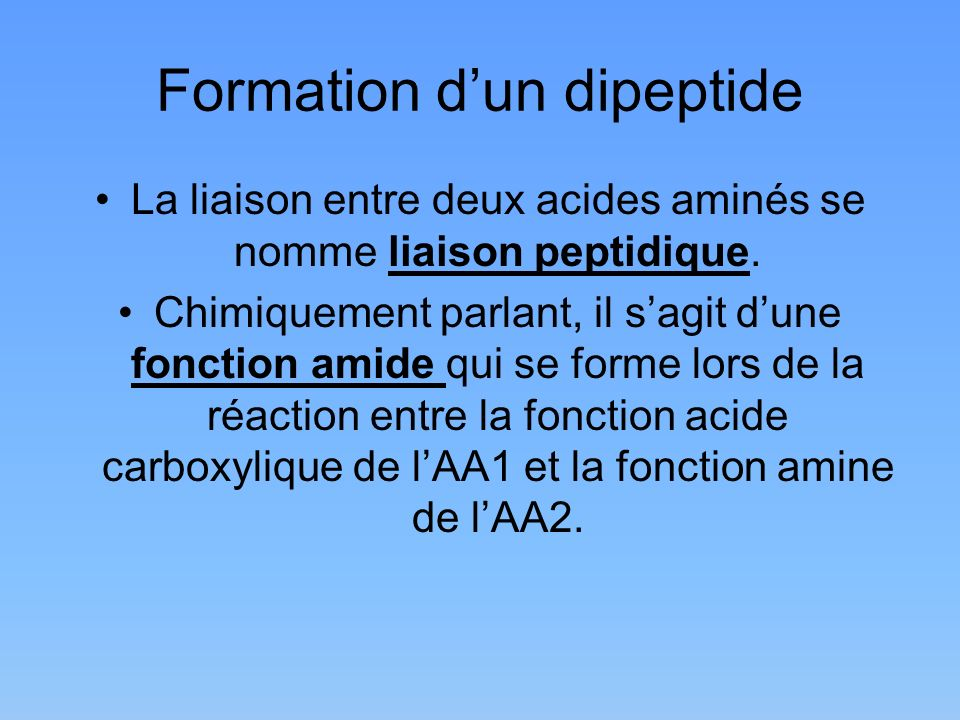 Formation d'un dipeptide