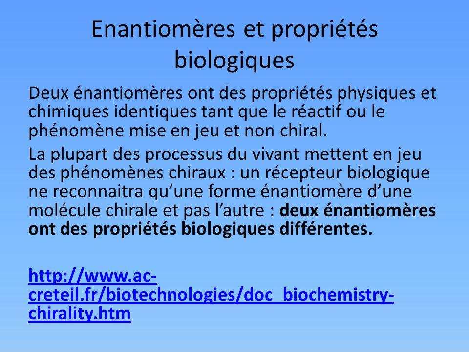 Enantiomères et propriétés biologiques