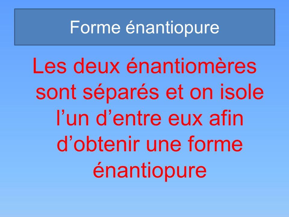 Forme énantiopure Les deux énantiomères sont séparés et on isole l'un d'entre eux afin d'obtenir une forme énantiopure.