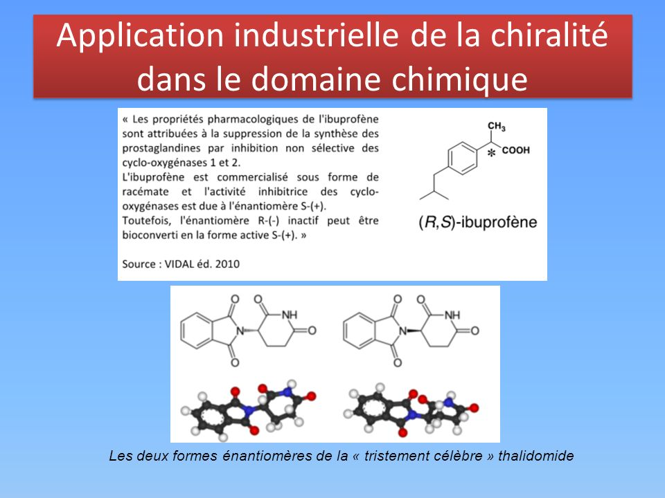 Application industrielle de la chiralité dans le domaine chimique