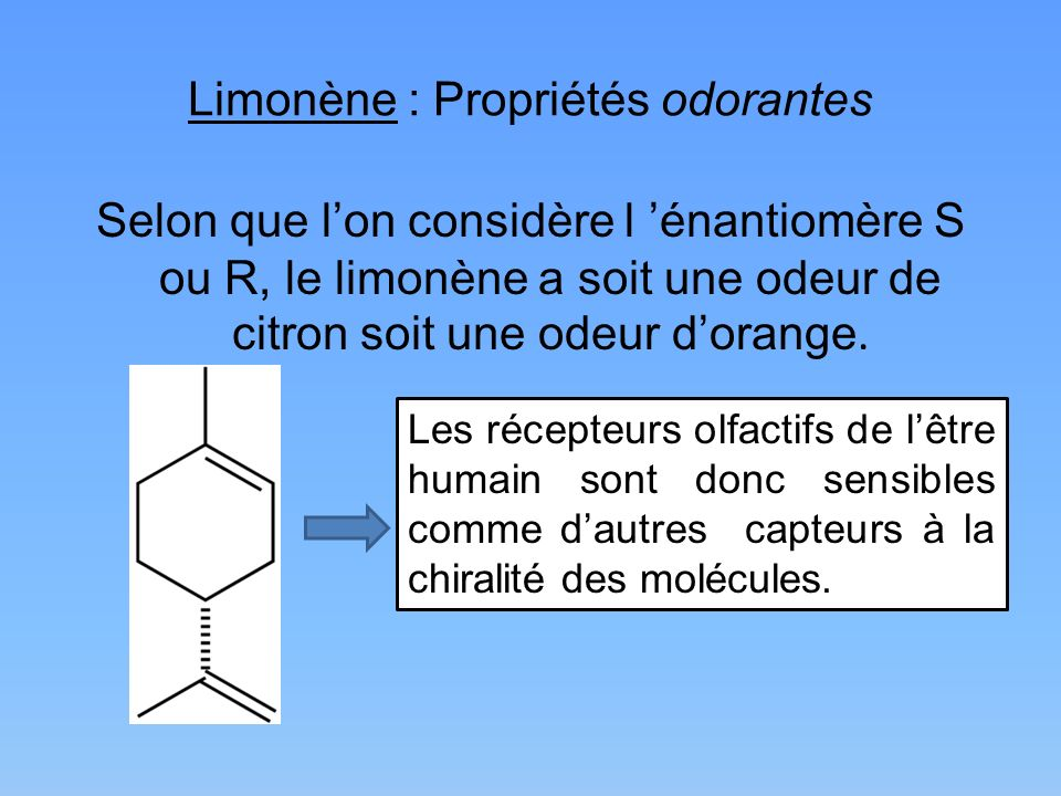 Limonène : Propriétés odorantes