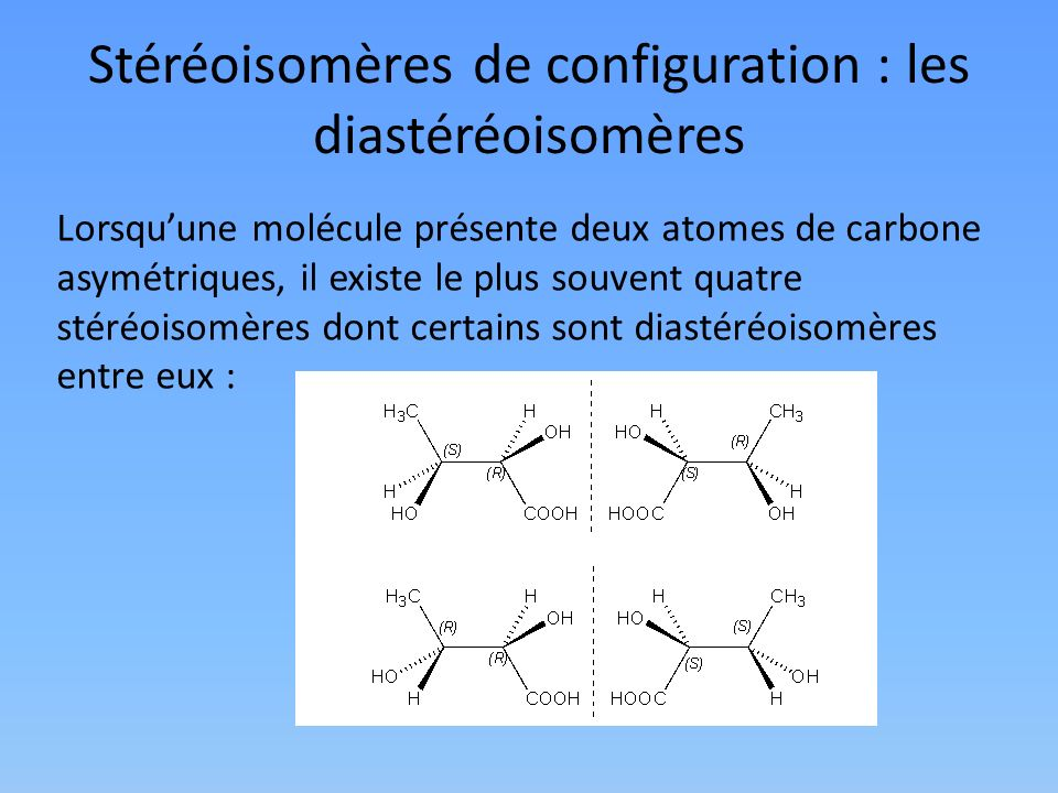 Stéréoisomères de configuration : les diastéréoisomères