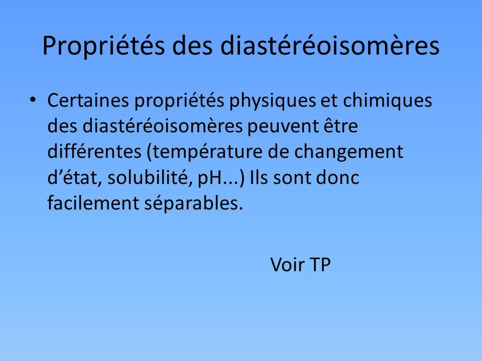 Propriétés des diastéréoisomères