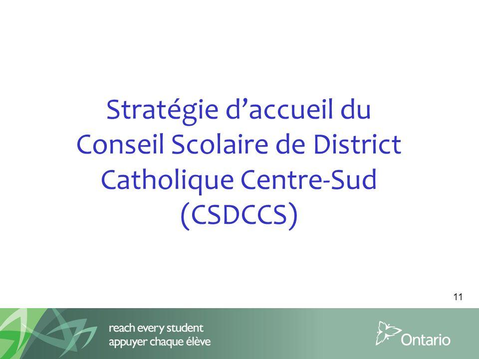 Stratégie d'accueil du Conseil Scolaire de District Catholique Centre-Sud (CSDCCS)