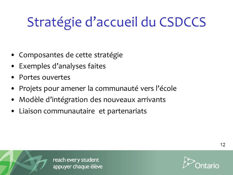 Stratégie d'accueil du CSDCCS