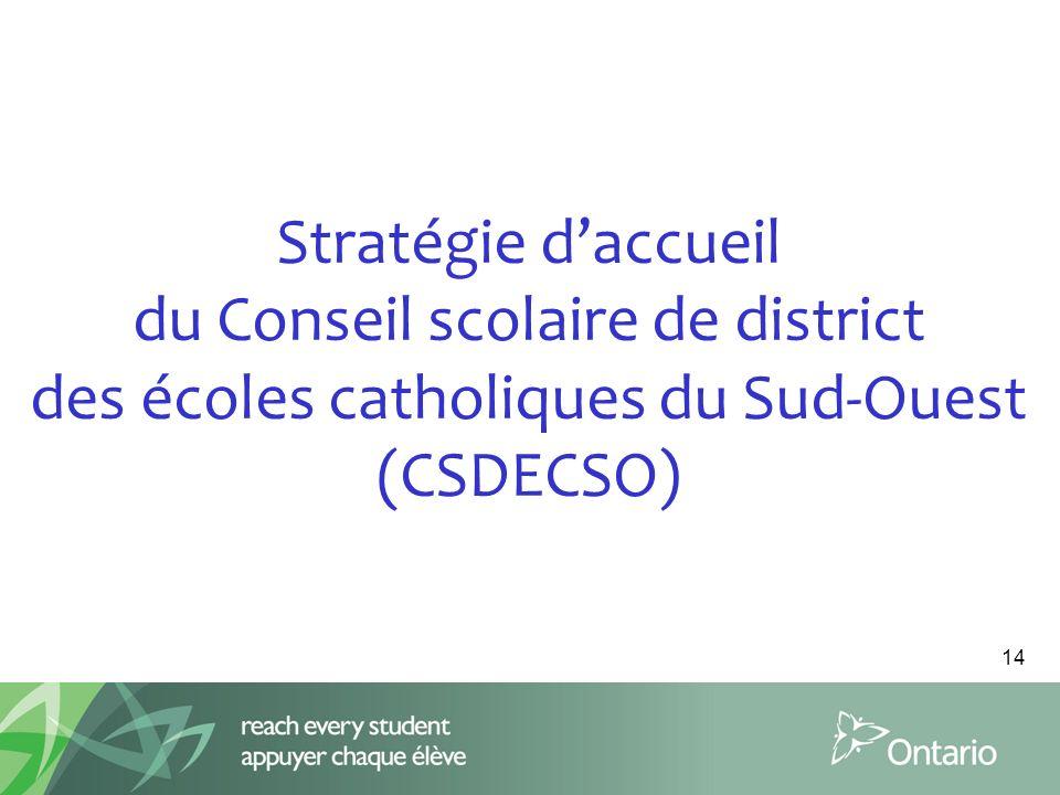 Stratégie d'accueil du Conseil scolaire de district des écoles catholiques du Sud-Ouest (CSDECSO)