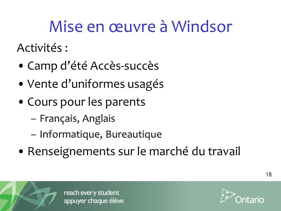 Mise en œuvre à Windsor Activités : Camp d'été Accès-succès