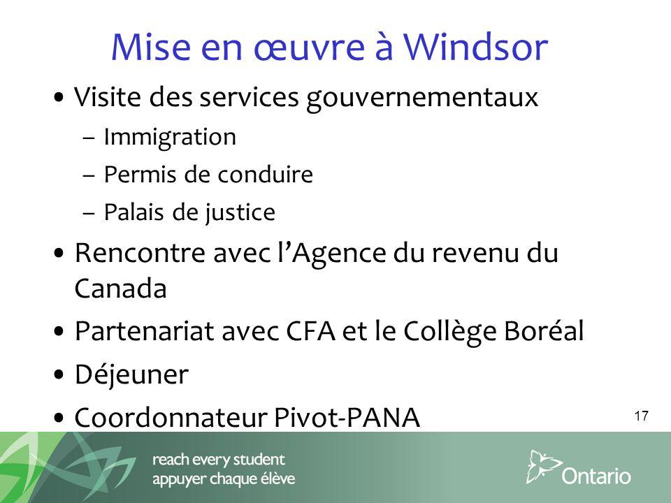 Mise en œuvre à Windsor Visite des services gouvernementaux