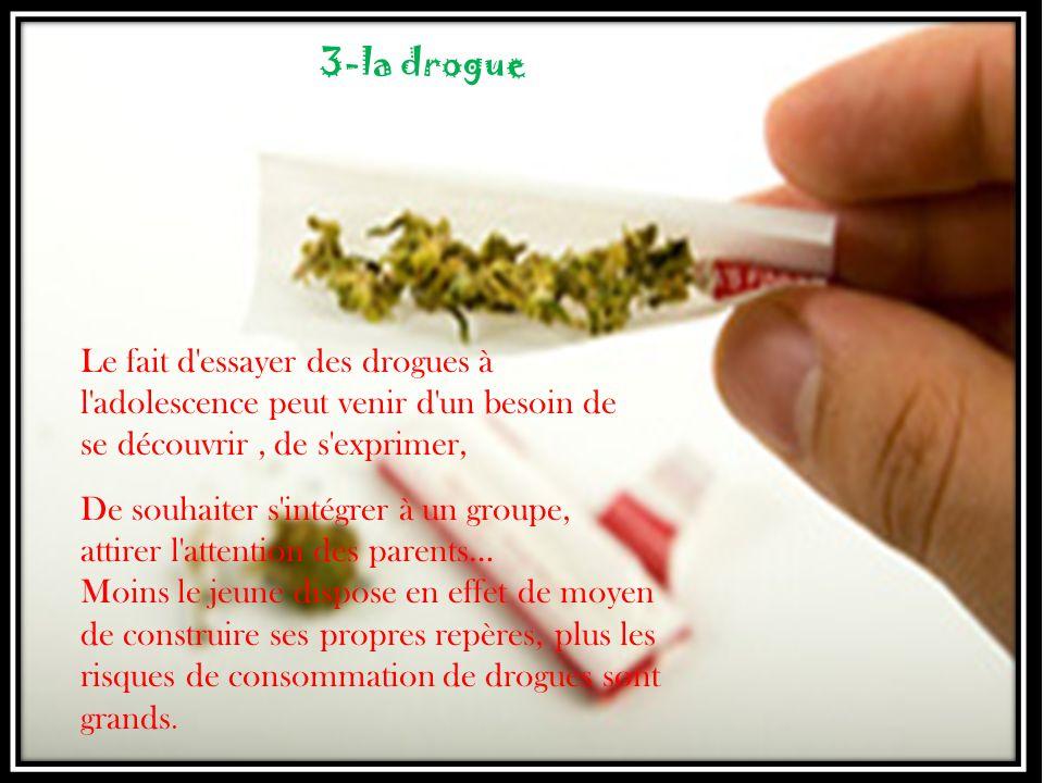 3-la drogue Le fait d essayer des drogues à l adolescence peut venir d un besoin de se découvrir , de s exprimer,