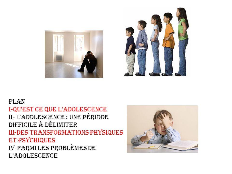 PLAN I-Qu'est ce que l'adolescence. II- L adolescence : une période difficile à délimiter. III-Des transformations physiques et psychiques.