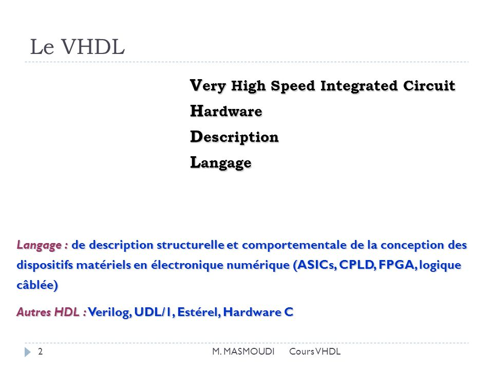 Le VHDL Very High Speed Integrated Circuit Hardware Description