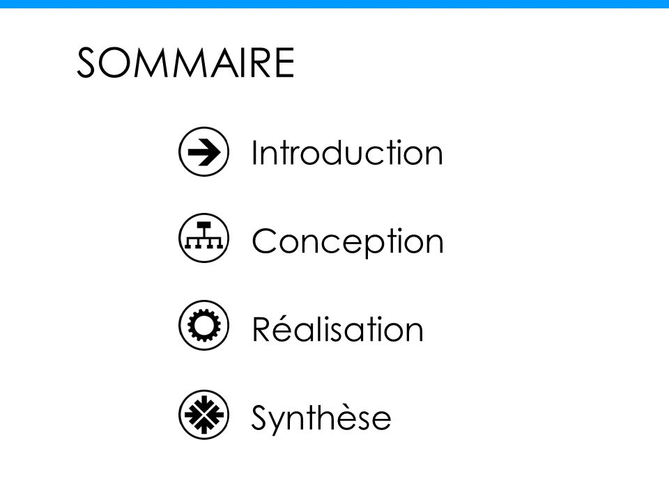 SOMMAIRE Introduction Conception Réalisation Synthèse