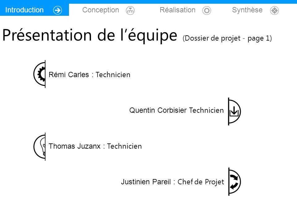 Présentation de l'équipe (Dossier de projet - page 1)