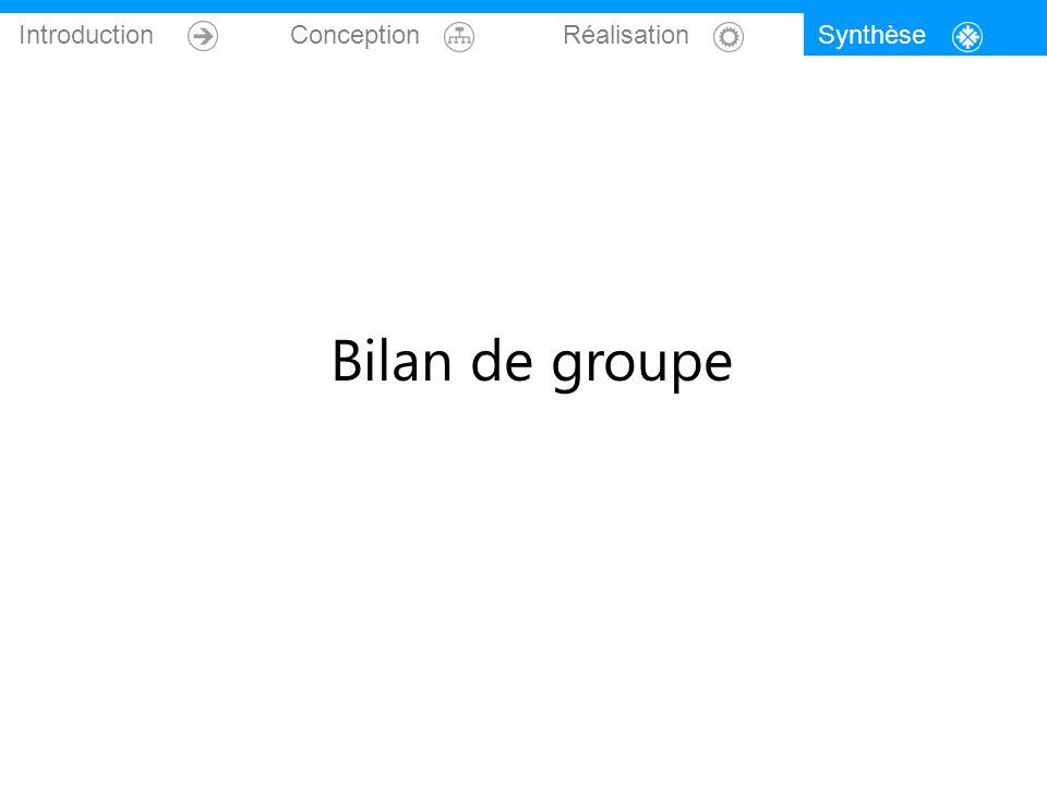 Introduction Conception Réalisation Synthèse Bilan de groupe