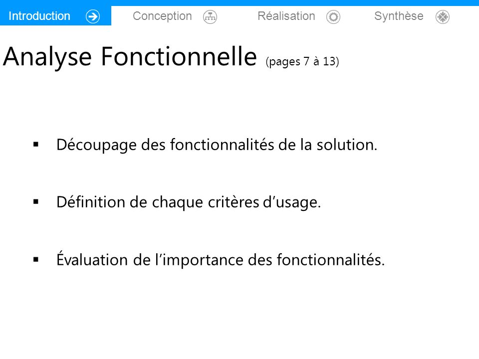Analyse Fonctionnelle (pages 7 à 13)