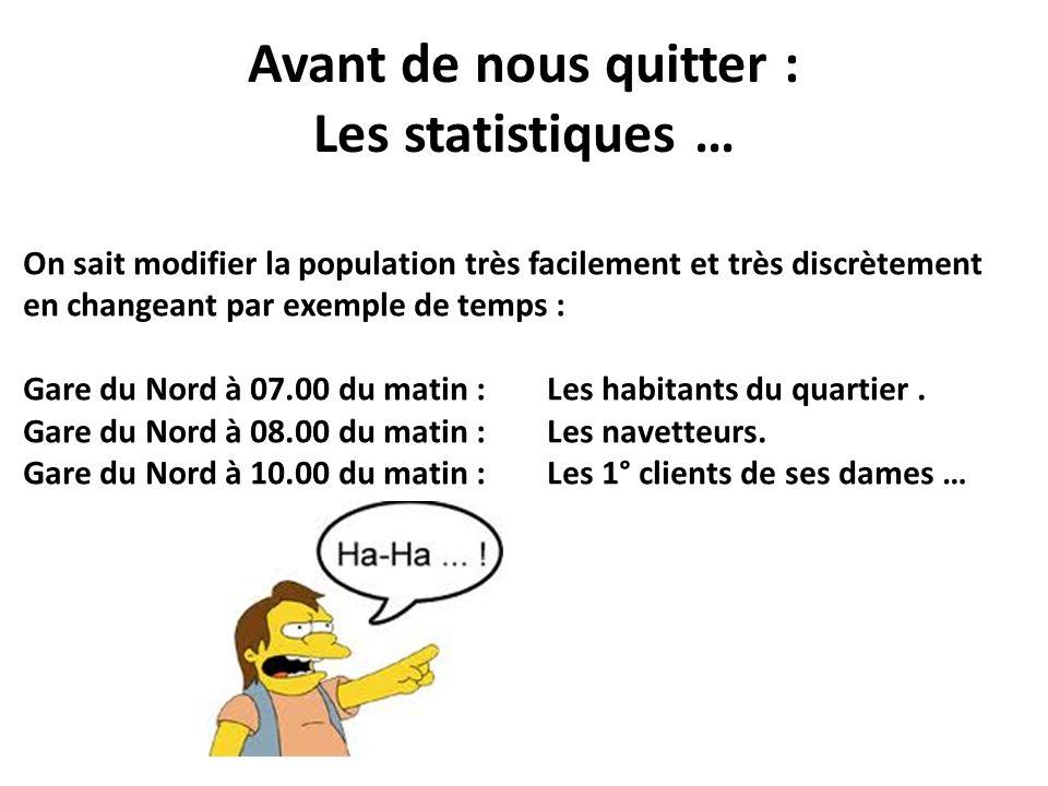 Avant de nous quitter : Les statistiques …
