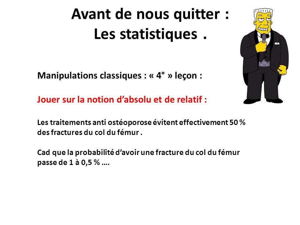 Avant de nous quitter : Les statistiques .