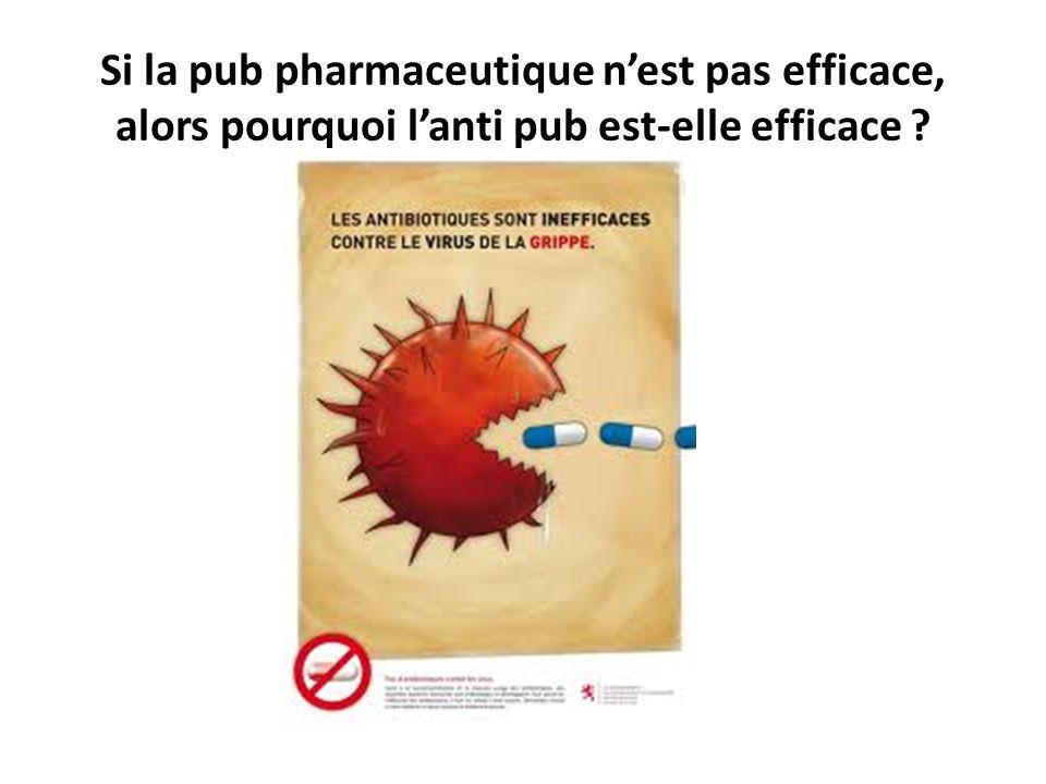 Si la pub pharmaceutique n'est pas efficace, alors pourquoi l'anti pub est-elle efficace