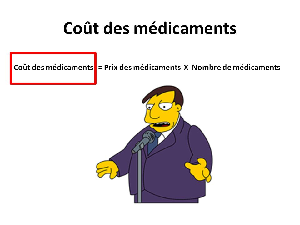 Coût des médicaments Coût des médicaments = Prix des médicaments X Nombre de médicaments