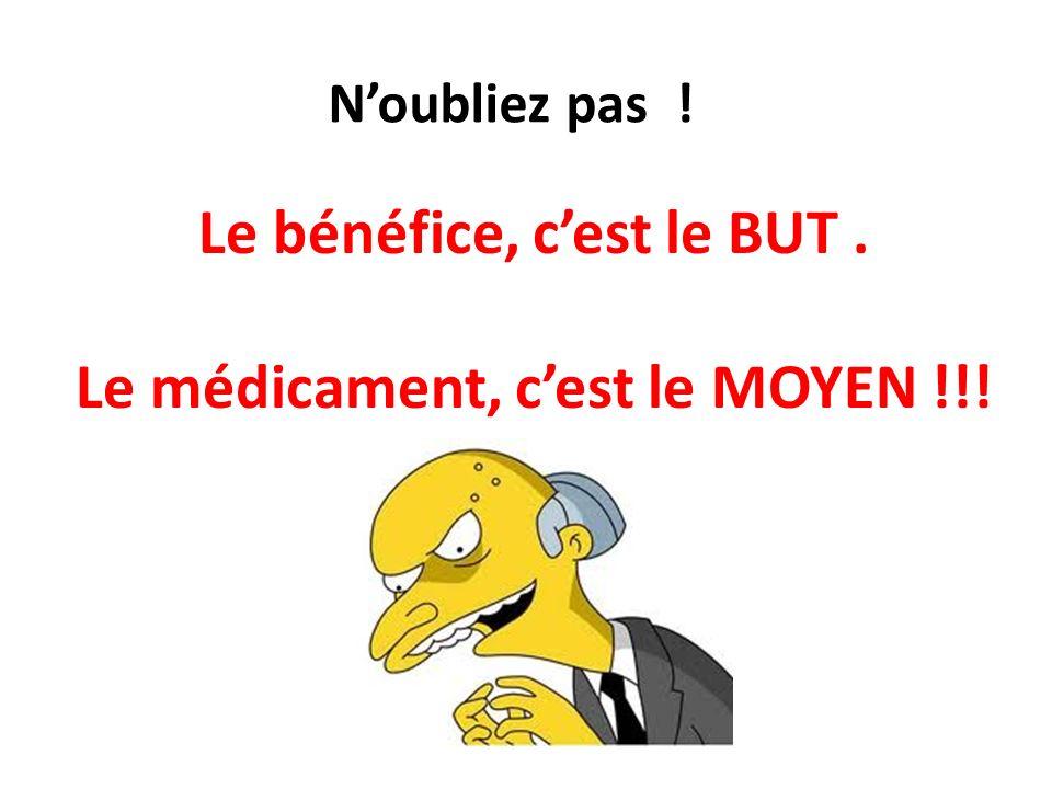 Le bénéfice, c'est le BUT . Le médicament, c'est le MOYEN !!!