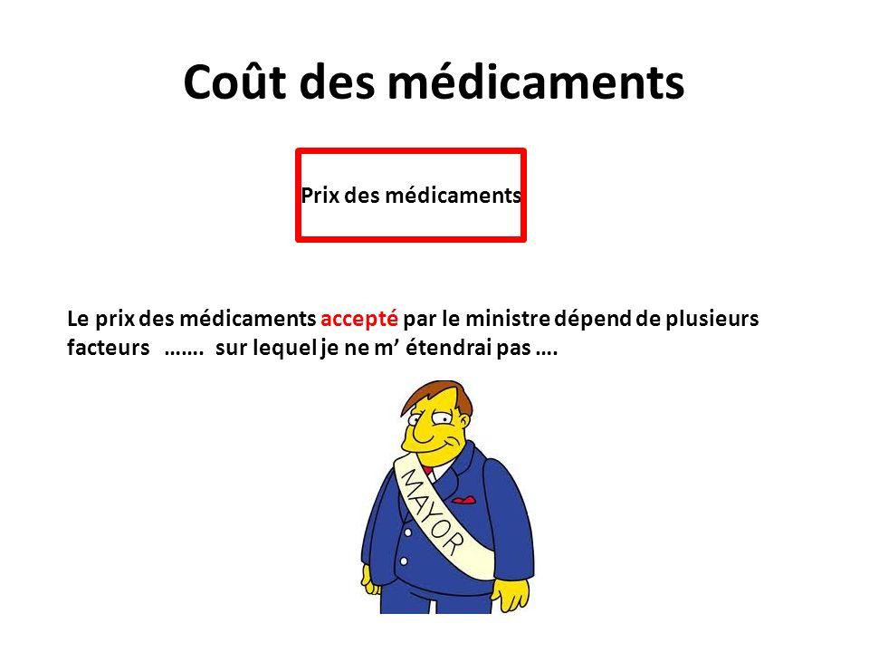 Coût des médicaments Prix des médicaments