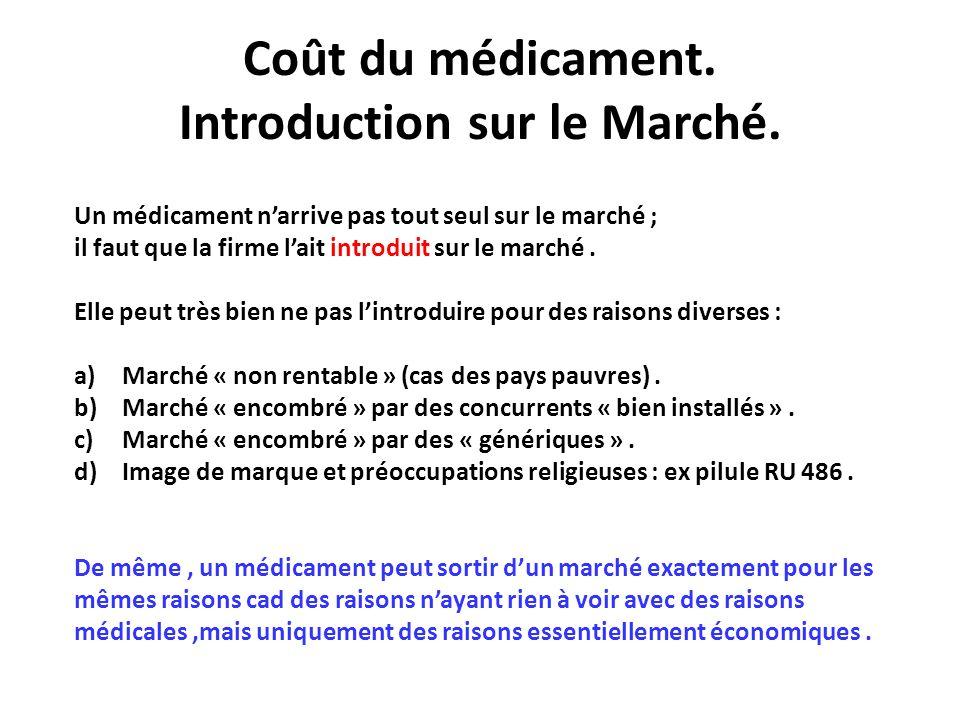 Coût du médicament. Introduction sur le Marché.