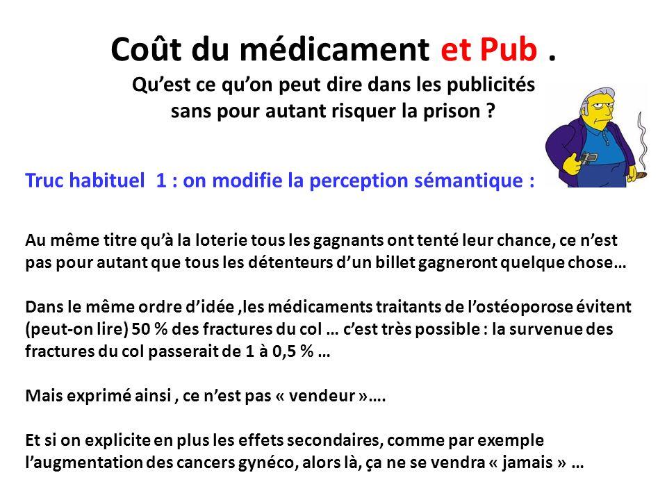 Coût du médicament et Pub