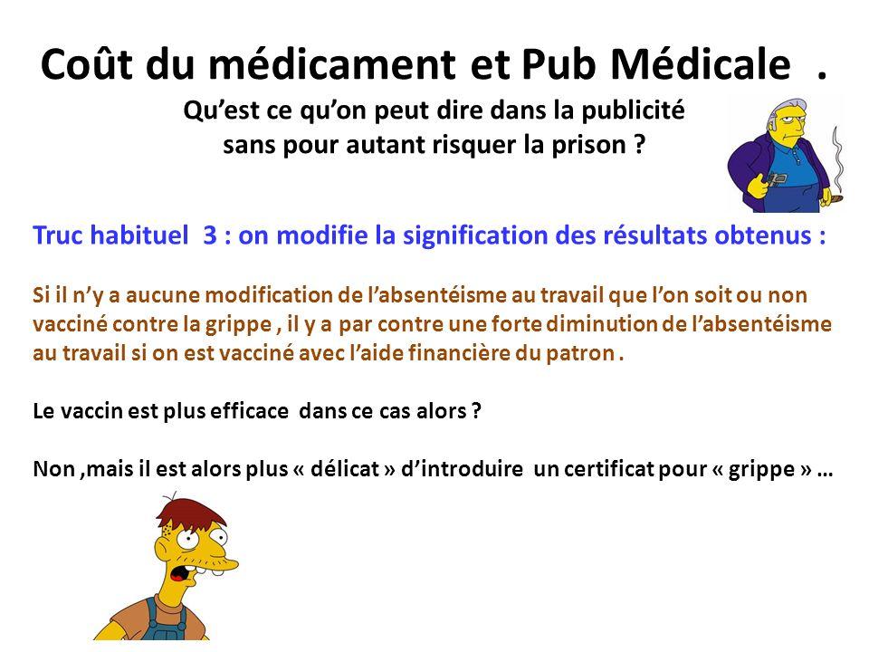 Coût du médicament et Pub Médicale
