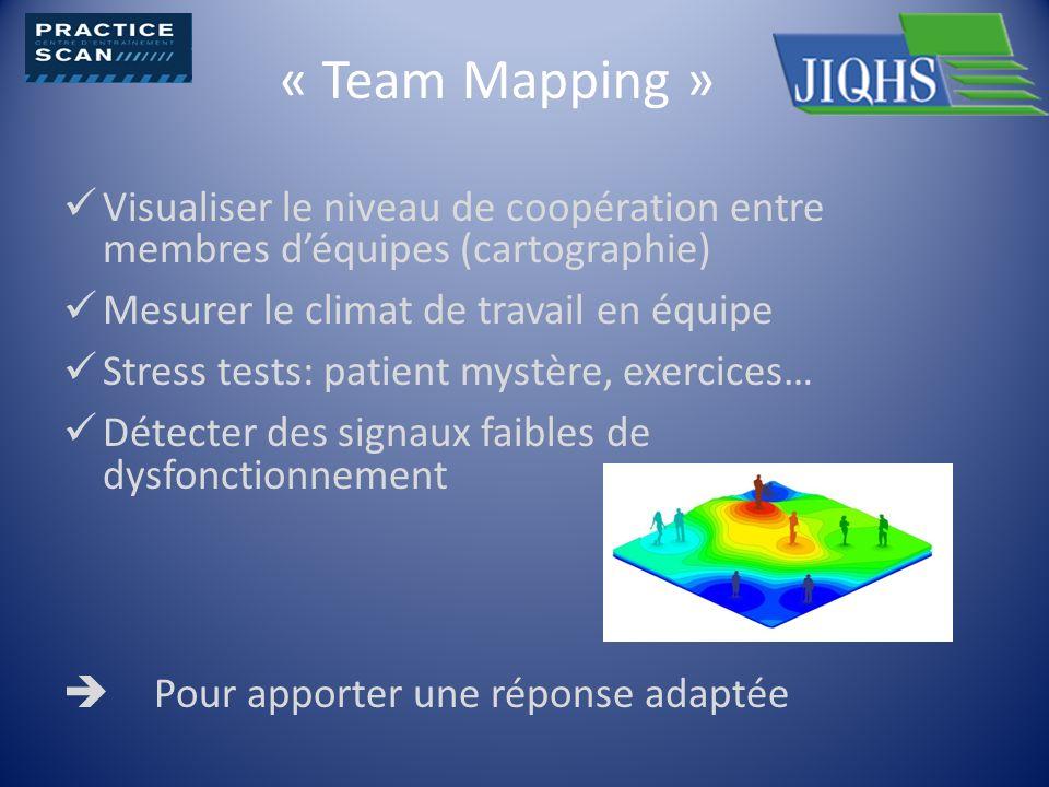 « Team Mapping » Visualiser le niveau de coopération entre membres d'équipes (cartographie) Mesurer le climat de travail en équipe.