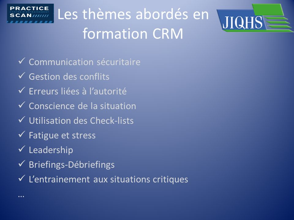 Les thèmes abordés en formation CRM