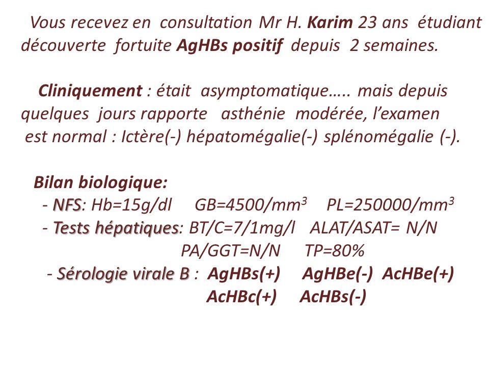 Vous recevez en consultation Mr H. Karim 23 ans étudiant