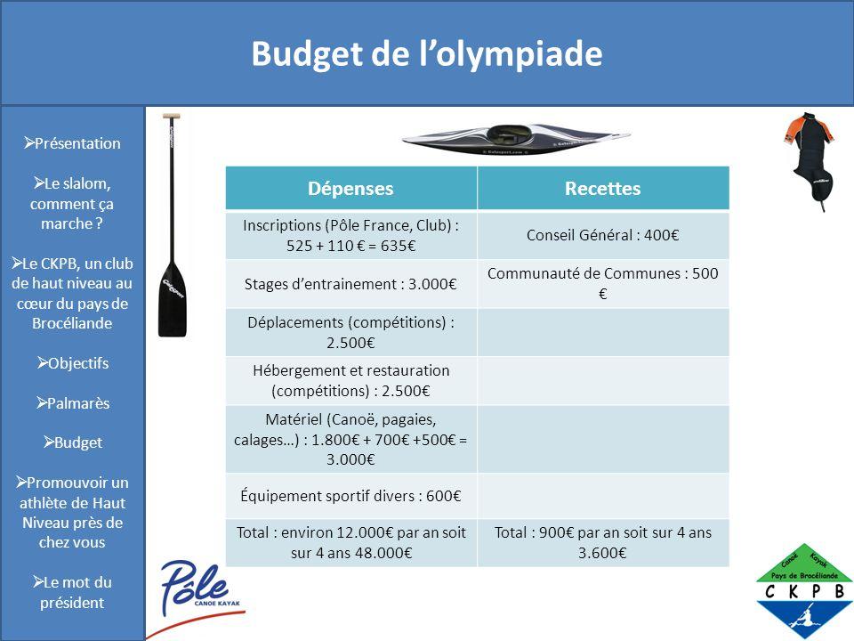 Présentation Budget de l'olympiade Dépenses Recettes Présentation
