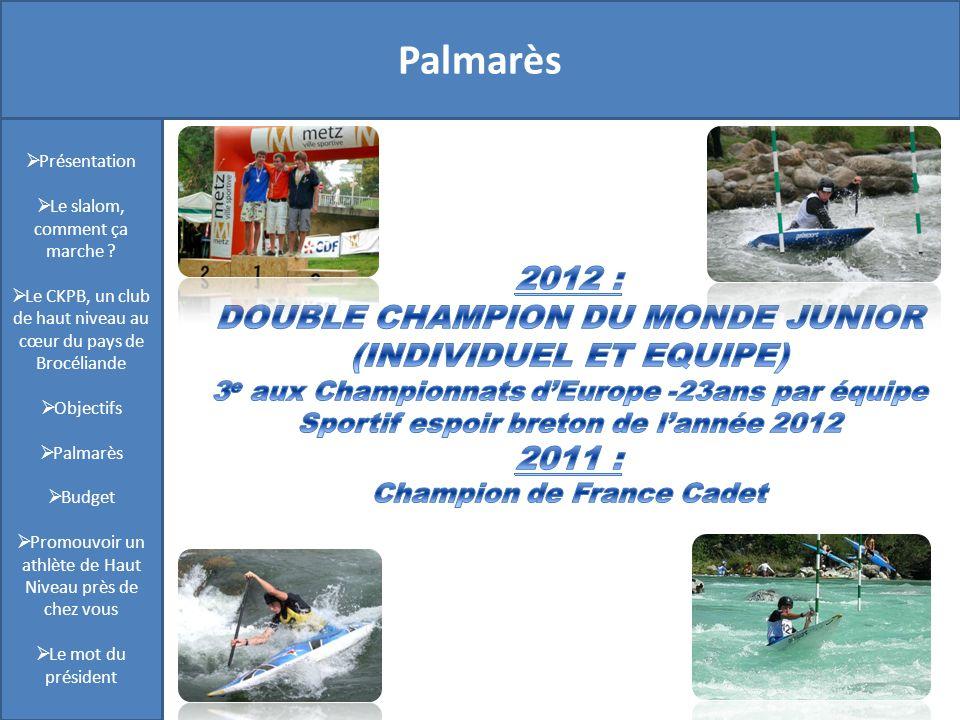 Présentation Palmarès 2012 :