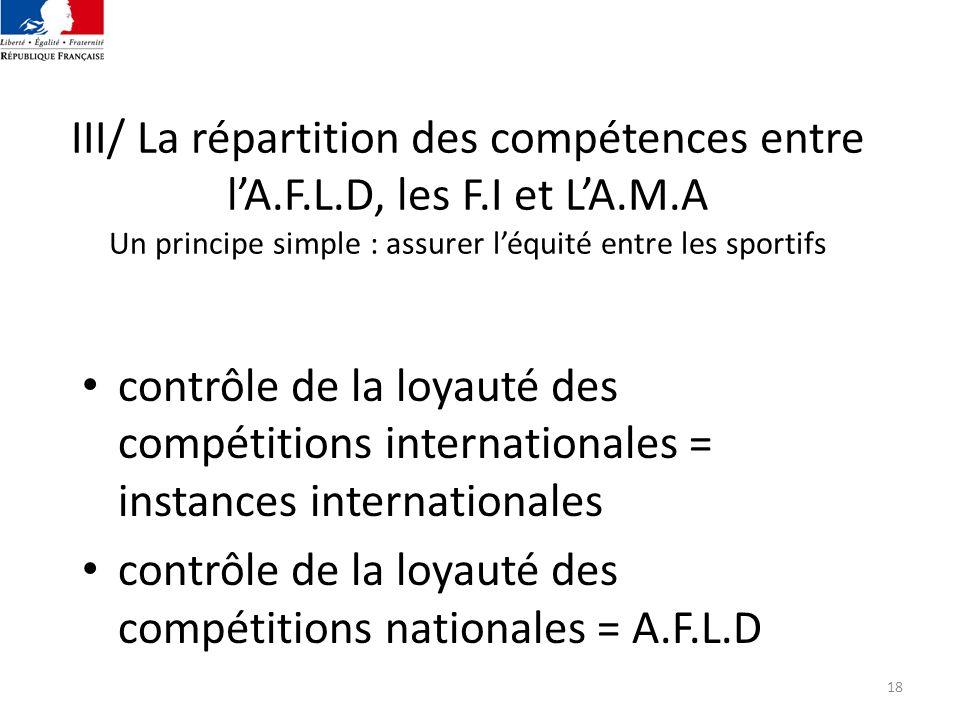 contrôle de la loyauté des compétitions nationales = A.F.L.D