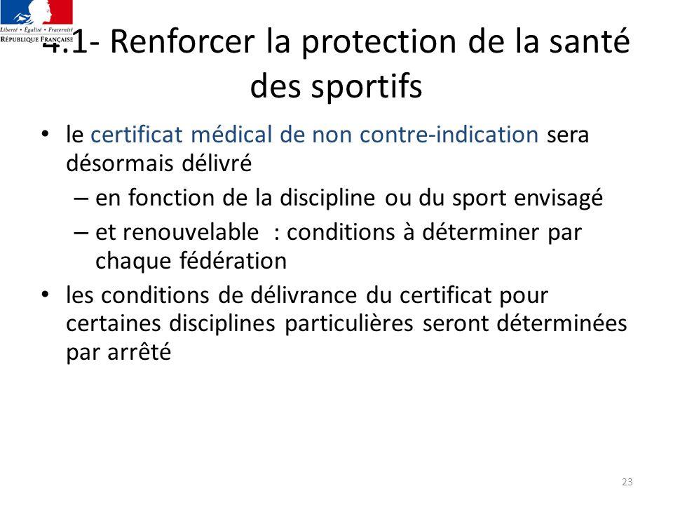 4.1- Renforcer la protection de la santé des sportifs