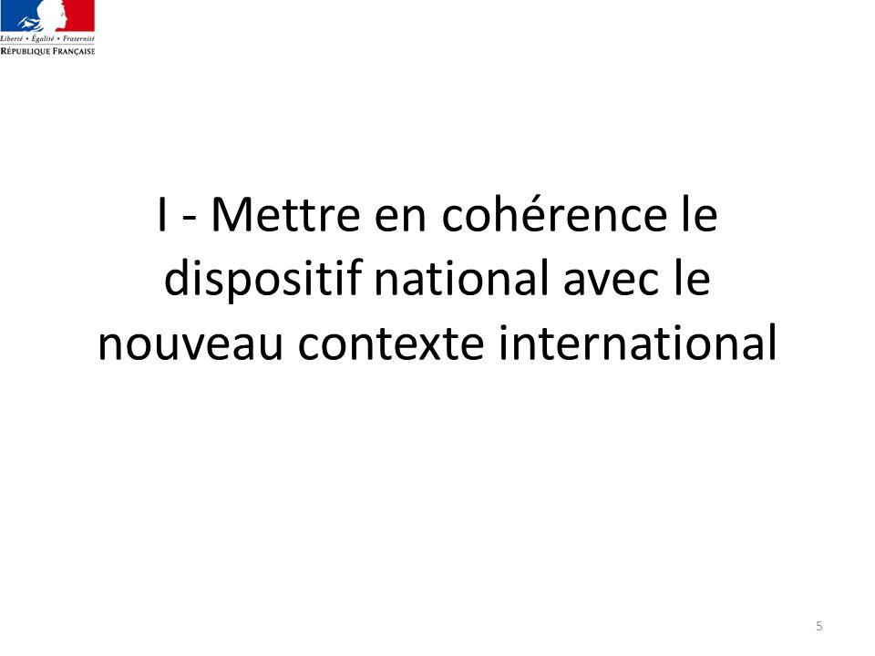 I - Mettre en cohérence le dispositif national avec le nouveau contexte international