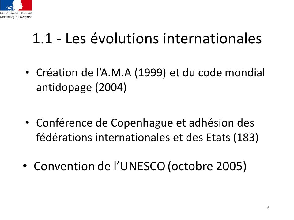 1.1 - Les évolutions internationales