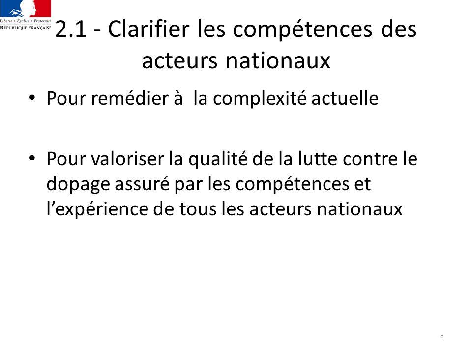 2.1 - Clarifier les compétences des acteurs nationaux
