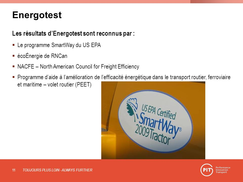 Energotest Les résultats d'Energotest sont reconnus par :