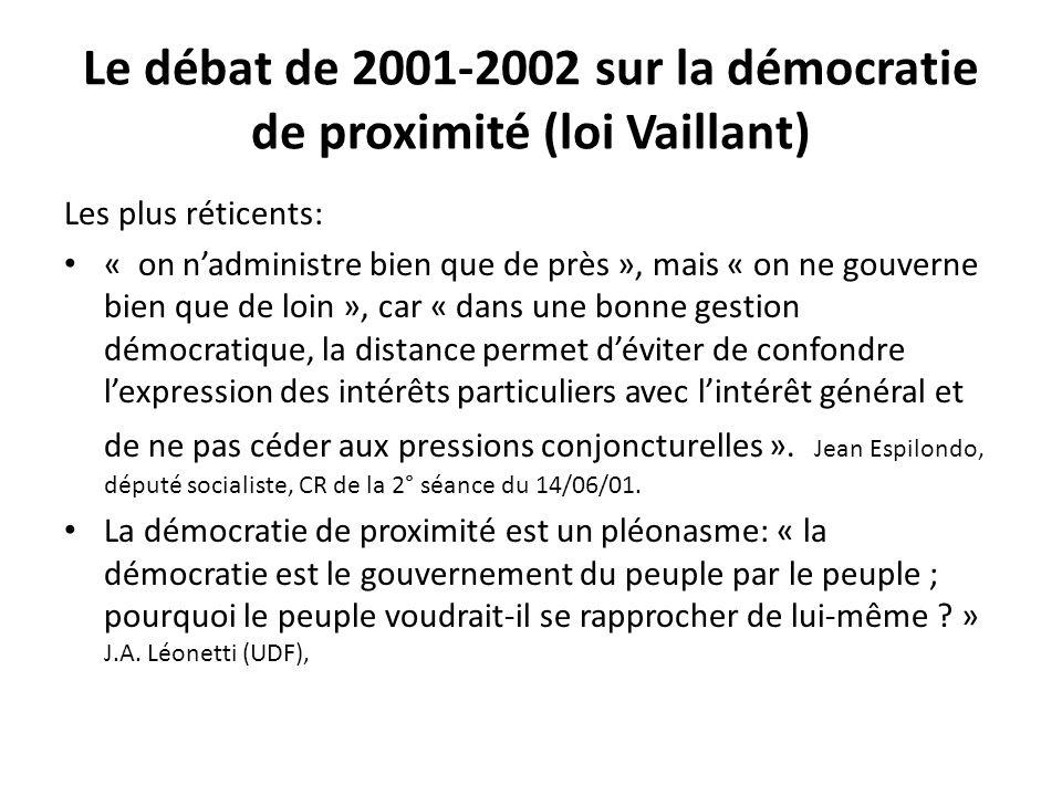 Le débat de 2001-2002 sur la démocratie de proximité (loi Vaillant)