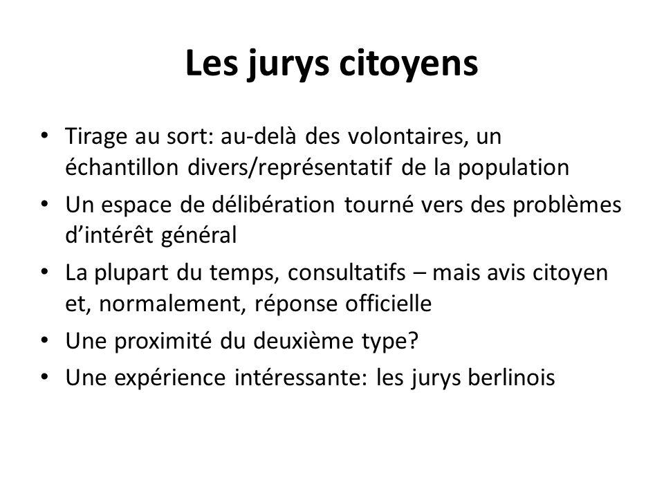 Les jurys citoyens Tirage au sort: au-delà des volontaires, un échantillon divers/représentatif de la population.