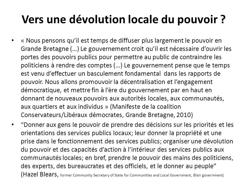 Vers une dévolution locale du pouvoir