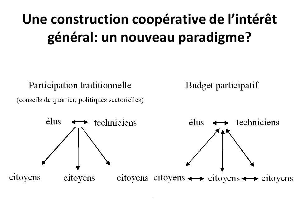 Une construction coopérative de l'intérêt général: un nouveau paradigme