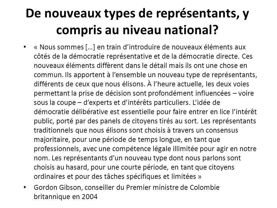 De nouveaux types de représentants, y compris au niveau national