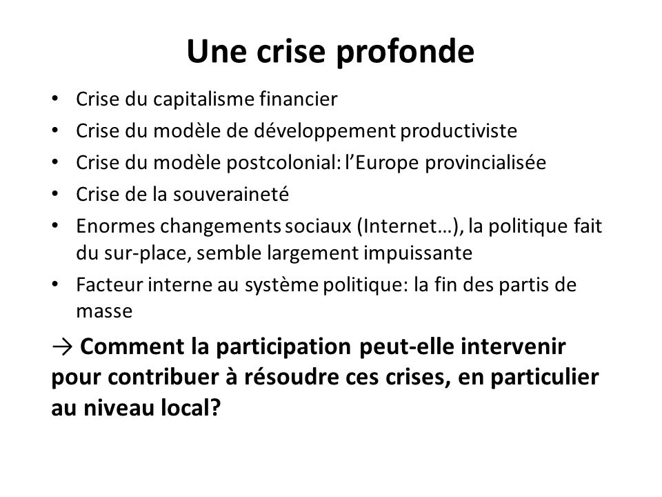 Une crise profonde Crise du capitalisme financier. Crise du modèle de développement productiviste.