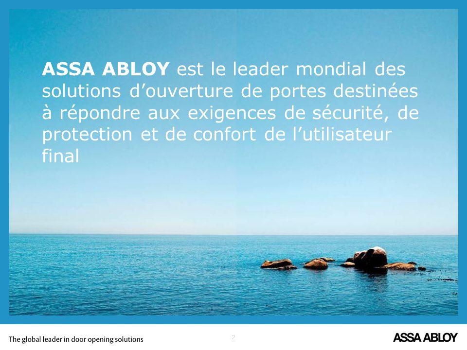 ASSA ABLOY est le leader mondial des solutions d'ouverture de portes destinées à répondre aux exigences de sécurité, de protection et de confort de l'utilisateur final