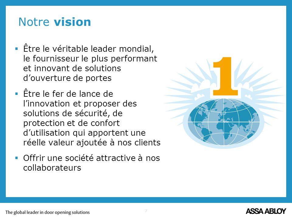 Notre vision Être le véritable leader mondial, le fournisseur le plus performant et innovant de solutions d'ouverture de portes.