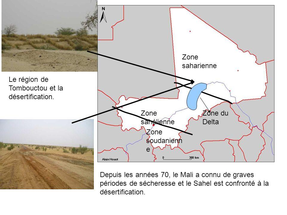 Zone saharienne Le région de Tombouctou et la désertification. Zone sahélienne. Zone du Delta. Zone soudanienne.
