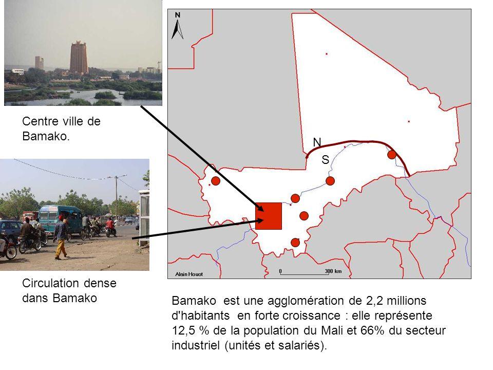 Centre ville de Bamako. N. S. Circulation dense dans Bamako.