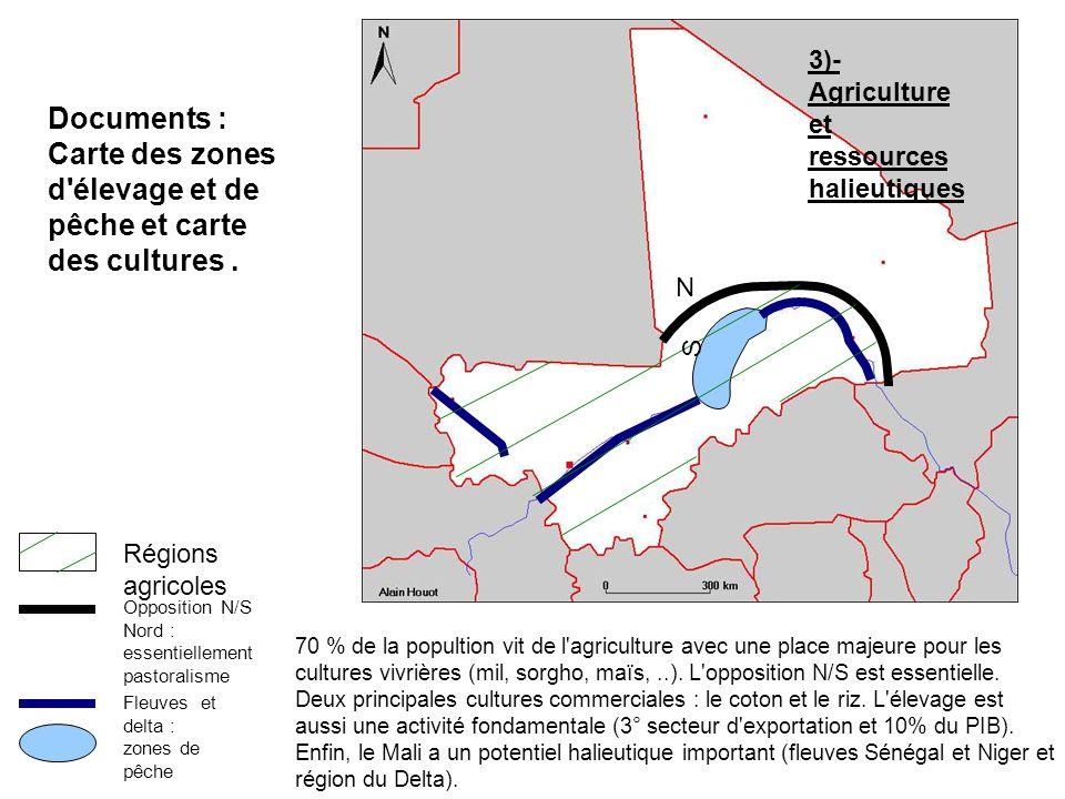 Carte des zones d élevage et de pêche et carte des cultures .